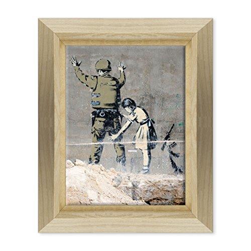 Bild auf Leinwand Canvas-Gerahmt-fertig zum Aufhängen-Banksy-Street Art Dimensione: 30x40cm E - Colore Legno Naturale Design