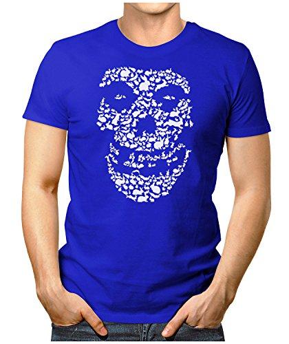 PRILANO Herren Fun T-Shirt - DEAD-RABBIT-SKULL - Small bis 5XL - NEU Blau