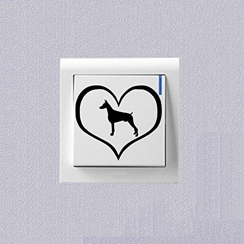 Preisvergleich Produktbild Dobermann Hund Cartoon Schalter Aufkleber Vinyl Dekoration Wand Aufkleber 2 SS0695