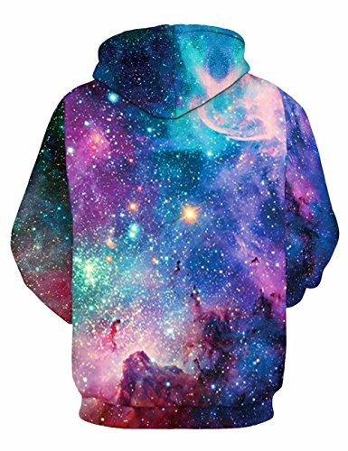 KamiraCoco 3D Druck Kapuzenpullover Herren Cartoon Sweatshirt Weihnachten Langarm Top Shirt Herbst Winter Drawstring Hoodie Pullover mit Kapuze Bunt Nachthimmel
