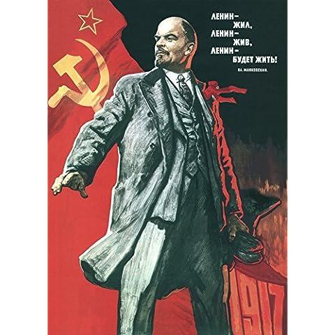 La Propaganda Rusa de la Vendimia Lenin vivió , Lenin vive , y Lenin será seguir viviendo!, 1967, Reproducción sobre Calidad 200gsm de espesor en Cartel A3 Tarjeta