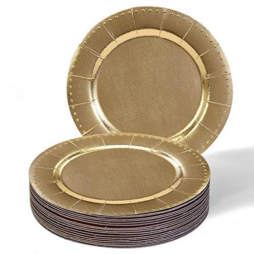 Runde Einweg-Ladegeräte aus schwerem Pappteller, Metallic-Gold-Finish, Einweg-runde Ladegeräte, perfekt für formelle Abendessen, Partys und Veranstaltungen, 20 Stück Beaded Gold