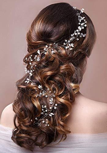 1M Hochzeit Stirnband Vintage Braut Kopfschmuck, CESHUMD Silber Rebe Haarband mit Kristallen Gefälschte Perlen Haarschmuck