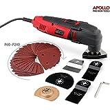 Apollo 220 Watt Oszillierendes Multifunktions-Tool mit Drehzahlregler, Sicherheitsschalter & 37-teiligem, Schaberklinge, Schleifklinge & Polierkopf und Schleifpapier