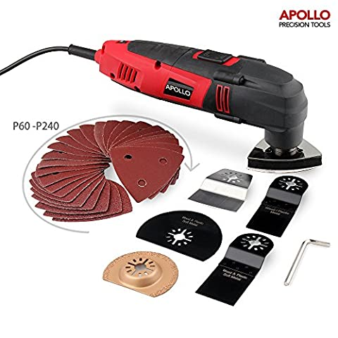 Apollo 220 Watt Oscillating Combo Multi Tool with Variable Speed Thumbwheel, Safety Switch & 37 Piece Mixed Accessory Kit Including Cutting Blades, Cutting Discs, Scraping Blade, Grinding Blade & Polishing Head and Sander