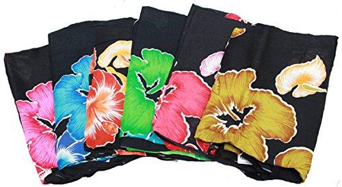 Kunsthandwerk Asien Sarong Blume, Pareo, Hüfttuch, Wickelrock, Strandtuch, Rot, Grün, Gelb und Blau (Gelb)
