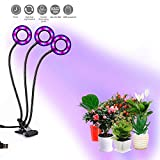 LED Plant Light, Plant Growth Light with Timer Function,Dimmable,3 Light Spectrum Change,18W Triple
