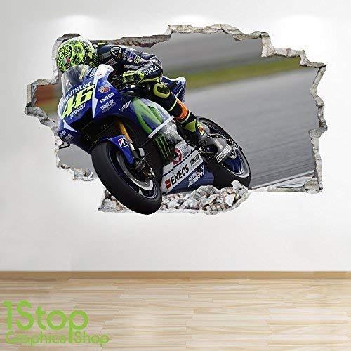 1Stop Graphics Shop Valentino Rossi Wandaufkleber 3D Optik - Jungen Kinder Schlafzimmer Motorrad Wand Abziehbilder Z660 - Small: 50 cm x 79 cm