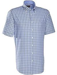 JACQUES BRITT Herren Hemd Custom Fit Brown Label Kurzarm Bügelleicht Karo Businesshemd Button-Down-Kragen Ohne Manschette