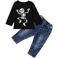 Ropa Bebe niña Talla 10 años,(1-5T) Camiseta con Estampado Halloween Boys de niños Camiseta Estampada con Estampado de Halloween Boys Top Estampado,Negro,80-120