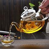 Tetera de vidrio con infusor estufa de tetera de vidrio de borosilicato tetera cafetera olla para té suelto - 1000 ml