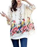 Fledermaus Chiffon Bluse - Landove Damen Boho Blumen 3 4 Armel Kaftan Damebluse Tunika T Shirt Poncho