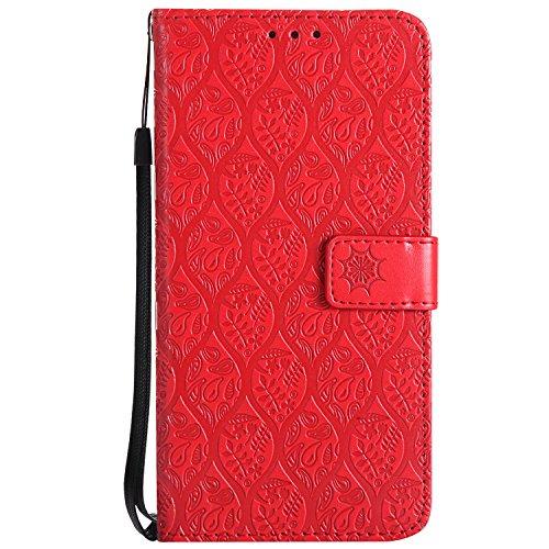 BoxTii Huawei Mate 8 Hülle, Premium Leder Druck Muster PU Leder Stand Funktion Magnet Etui mit Frei Panzerglas Displayschutzfolie für Huawei Mate 8 (Rot)
