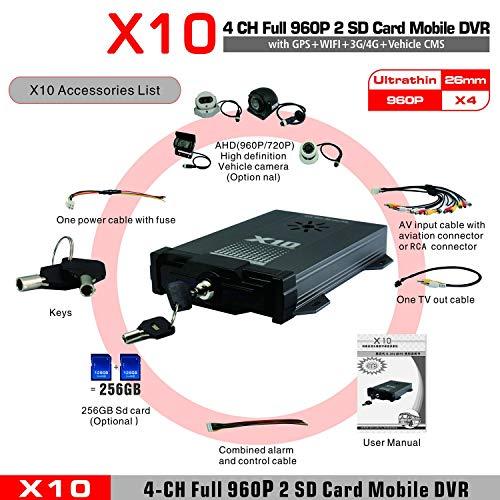 X10S Für Android Für iOS Live-H.264 AHD 720P CMS Surveillance Mobile DVR 4 Kanäle Mobile DVR für Fahrzeuge(schwarz)