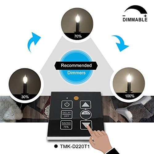 TAMAYKIM C35 6W Dimmbar Glühfaden LED Kerze Lampe, 3000K Warmweiß 600 Lumen, 60W Entspricht Glühlampe, E14 Fassung, Flamme Form, 360° Abstrahlwinkel, 3er-Pack - 5