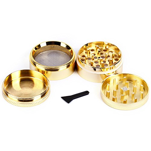 Gewuerzmuehle Aluminium Kraeutermuehle Tabakmuehle Muehle Alu Grinder Crusher Metall 4 Teilig mit Sieb Feinsieb mill Gold 50mm