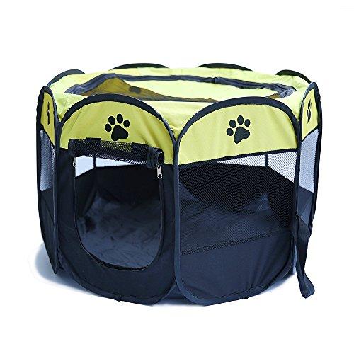 PENIVO 6 Farben-tragbares faltendes Hundehaus,Haustier Hund / Katze zelt Cage Puppy Home Kennel Achteckigen Zaun im freien Pet Übung Spielen Käfig Laufställe (72cm, Gelb)