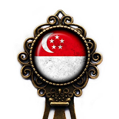 Singapore Singaporean Flag Singapur Singapurische Flagge Lesezeichen