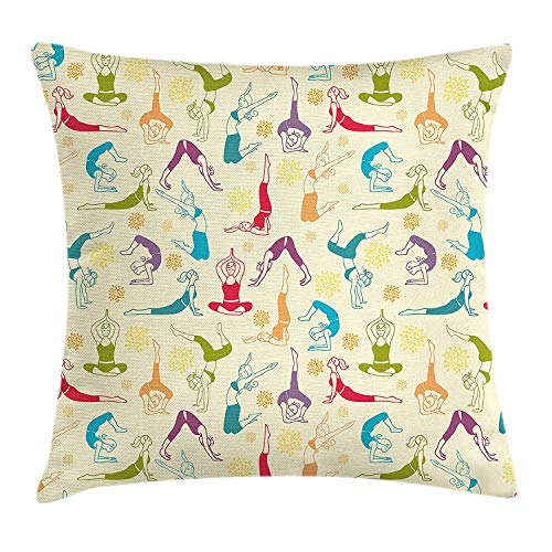 Cyourteem Doodle Throw Pillow Cushion Cover, Workout Fitness Girls in Different Yoga Pilates Positions Health Wellness Gymnastics, Decorative Square Accent Pillow Case, 18 X 18 Inches, Multicolor - Boys-club-fitness-studio