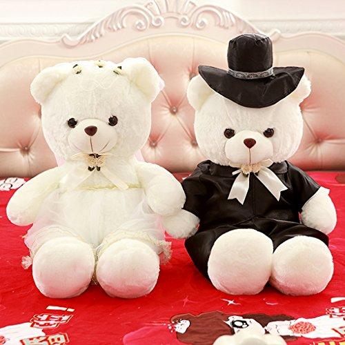 VERCART Hochzeit & Jubiläum Teddybär Heirat Paar Teddybär Liebhaber Teddybär Dating Engagement Teddybär (Bear White Ohren)