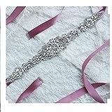 Lia Brautgürtel, Strassgürtel, 270x2 cm, Satin, violett/lila, Vintage Gürtel zum Brautkleid, Hochzeitskleid, Hochzeit, Glitzer, silber,