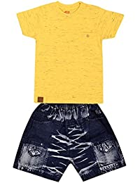LEWEL Boys Yellow Injection T-Shirt & Blue Denim Shorts Casual Dress, Extra Soft to Keep Baby Warm & Cosy – 100% Tested Cotton Denim - Comfort Fit, Kids Fashion Choice 1 Years to 4 Year(Top & Bottom)
