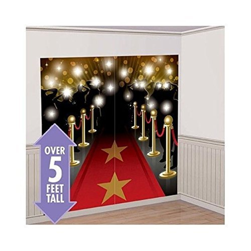 Lunarland RED CARPET HOLLYWOOD SCENE SETTER Happy Birthday Party Wall Decoration Decor kit by Lunarland Wall Stickers