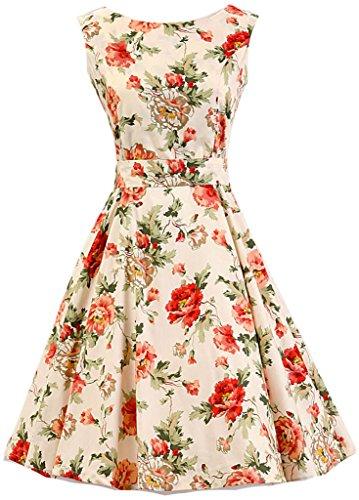 Eudolah Robe patineuse babydoll à motif fleurs robe classique vintage style des années 50 Hepburn soirée festival Ecru Rouge Fleur-Y