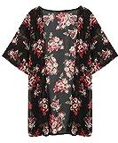 Amlaiworld Donna Cardigan top,Floreale stampato Chiffon Kimono Cardigan cappotto top camicetta coprire (S)