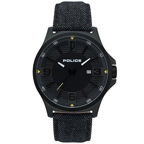 Police Herren Analog Quarz Uhr mit Stoff Armband PL15384JSB.02