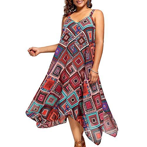 (Sommerkleider Damen Große Größen V-Ausschnitt Lange Maxikleid Schulterfrei Blumenmuster Frauen Ärmellos Strand Kleider (Rot, EU 50))