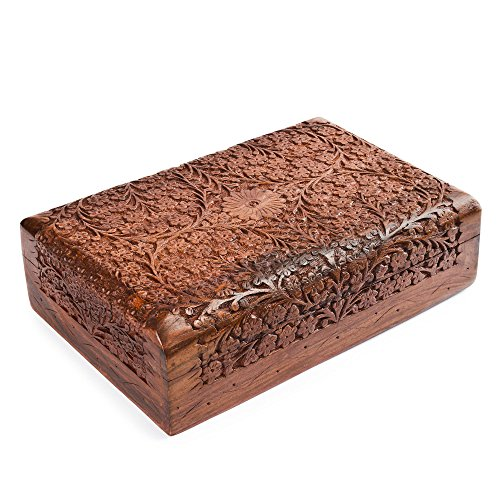 Rusticity Holz Schmuckkästchen | Handarbeit (12x8in) - Antik-look Holz Geschnitzt