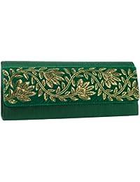 Mela Golden Embroidered Clutch-Green