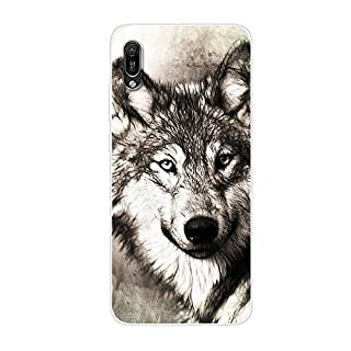 Aksuo for Huawei Y6 Pro 2019 Case,Women Girls boy Men Printed Transparent Clear Design Plastic Case with TPU Bumper Protective Cover,Fierce Wolf Head