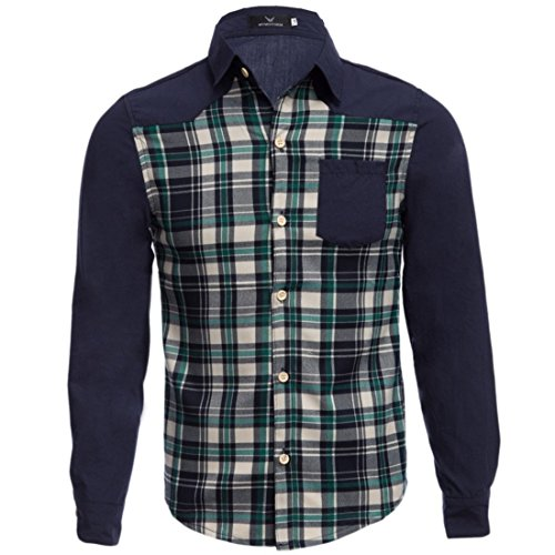 Men's Cotton Plaid Patchwork Slim Fit Long Sleeve Casual Shirts blue and green 3
