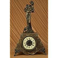 Statua di bronzo Scultura...Spedizione Gratuita...Mantle Clock Firmato Moreau francese di Maiden ed il suo cane(YZB-004-UK)Statue Figurine Figurine Nude per ufficio e casa Décor Primo Giorno Collezio