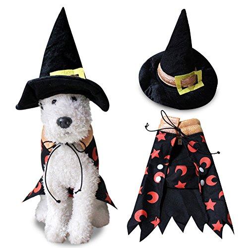 suberde Hund Puppy Halloween Zauberer Umhang mit Hut Pet Kostüm Fancy Dress Party suit, schwarz, M (Der Assistent Kostüm)