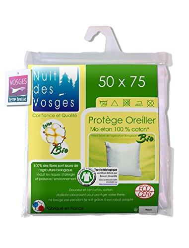 Nuit des Vosges 204482 Sous Taie d'Oreiller Molleton Bio Coton Blanc 50 x 75 cm