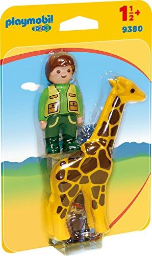 Playmobil- 1.2.3 Cuidador con Jirafa Juguete