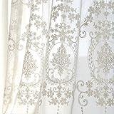 Silk Road europäischen Stickerei Vorhang, Weiße Spitze Gardinen für Wohnzimmer Schlafzimmer Balkon Erker Fenster Behandlungen - Weiß 300 x 270 cm (118 x 106 Zoll)