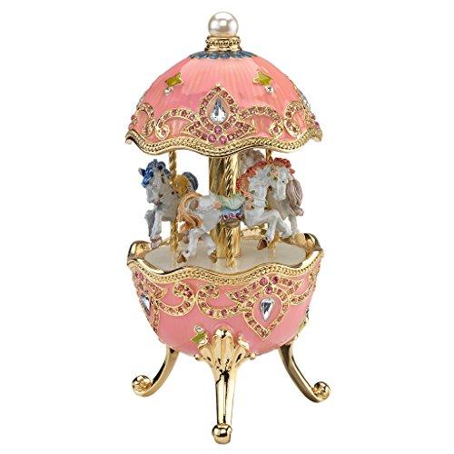 Design Toscano Pferdekarussell, Emailliertes Ei im Romanov-Stil mit Musikwerk