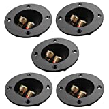 PIXNOR 5pcs DIY Home Car Stereo 2-Way Speaker Box Terminal Binding Post Round Spring Cup Connectors Subwoofer Plugs Black