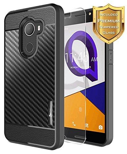 revvl Fall (T-Mobile) mit [gehärtetem Glas Displayschutzfolie], Alcatel A30Fierce Fall/Alcatel A30Plus Fall/Alcatel Walters, nagebee [Frost Klar] [Carbon] Slim Soft TPU Fall, Schwarz T-mobile Carbon