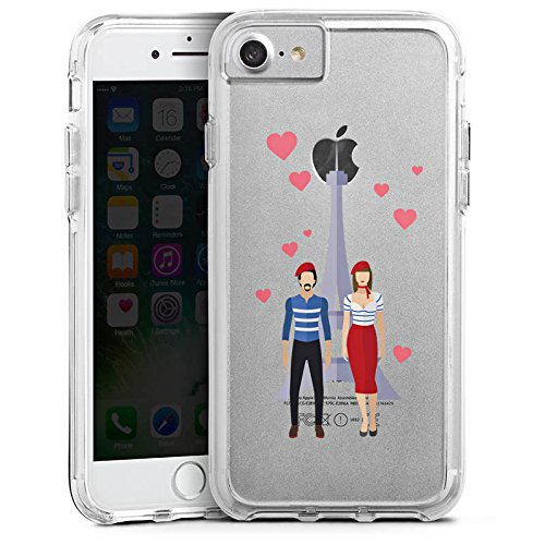 Apple iPhone 7 Bumper Hülle Bumper Case Glitzer Hülle Paris Eiffelturm Liebe Bumper Case transparent