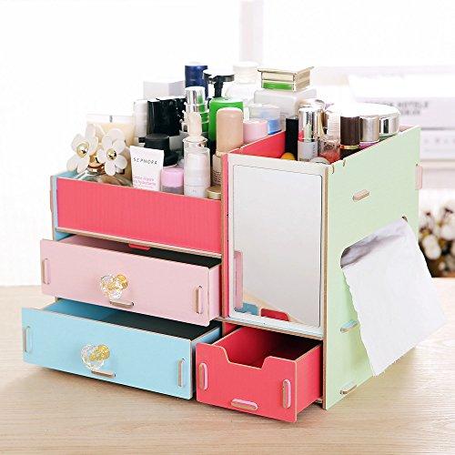 royllent in legno Jewelry Storage Box Organizer per cosmetici trucco pieghevole Storage supporto Colorful
