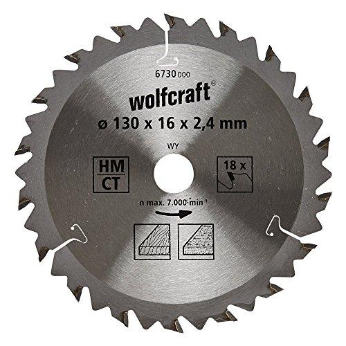 Wolfcraft 6730000 6730000-1 Hoja de Sierra Circular HM, 18 dient, Serie marrón diam. 130 x 16 x 2,4 mm, 130x16x2.4mm