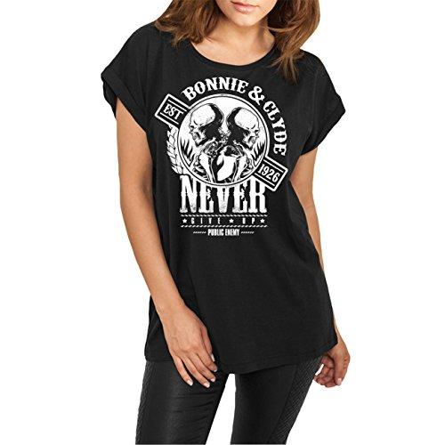 WUNSCHZAHL Frauen lässiges Shirt Bonnie & Clyde GANGSTER (Rückendruck mit Wunschzahl) Schwarz