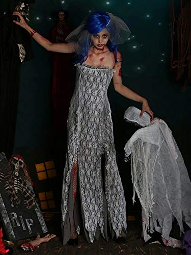 Hells Kostüm Angel - Kungfu Mall Halloween Ghost Bride Hell Göttin Zombie Devil Angel Cosplay Kostüm Frauen Party Kleider, S