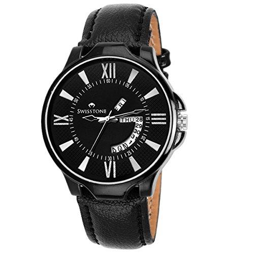SWISSTONE Analogue Black Dial Men's & Boy's Watch (Sw-Blk105-Black)