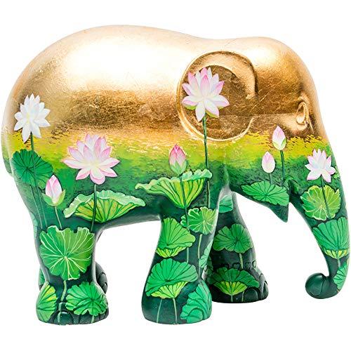 Unbekannt Parade de Elefante Golden Lotus, Estatua de Elefante Hecha a Mano, 20 cm